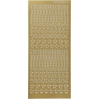 Stickers, stjerner, 10x23 cm, guld, 1 ark