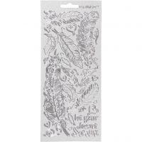 Stickers, fjer, 10x23 cm, sølv, 1 ark