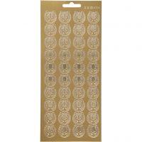 Stickers, lyre, 10x23 cm, guld, 1 ark