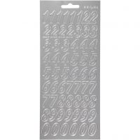 Stickers, tal, 10x23 cm, sølv, 1 ark
