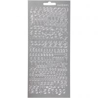 Stickers, bogstaver, 10x23 cm, sølv, 1 ark
