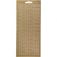 Stickers, tal, 10x23 cm, guld, 1 ark