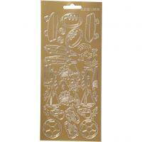 Stickers, sport, 10x23 cm, guld, 1 ark