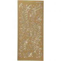 Stickers, blade, 10x23 cm, guld, 1 ark