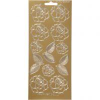 Stickers, roser, 10x23 cm, guld, 1 ark