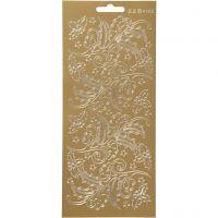 Stickers, kristtorn, 10x23 cm, guld, 1 ark