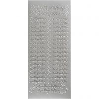 Stickers, indbydelse, 10x23 cm, sølv, 1 ark