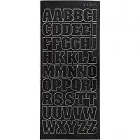Stickers, store bogtaver, kapitæler, 10x23 cm, sort, 1 ark