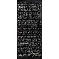 Stickers, små bogtaver, minuskler, 10x23 cm, sort, 1 ark