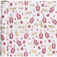 Gavepapir, nøddeknækker, B: 70 cm, 80 g, guld, rød, hvid, 2 m/ 1 rl.