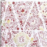 Gavepapir, Juletræer, B: 50 cm, 80 g, guld, rød, hvid, 3 m/ 1 rl.