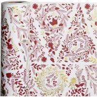 Gavepapir, Juletræer, B: 50 cm, 80 g, guld, rød, hvid, 100 m/ 1 rl.