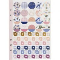 Stickersbog, blomster, A5, guld, lilla, rosa, 1 stk./ 1 pk.