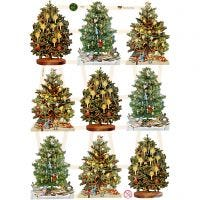 Glansbilleder, juletræer, 16,5x23,5 cm, 3 ark/ 1 pk.