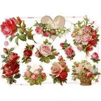 Glansbilleder, roser, 16,5x23,5 cm, 3 ark/ 1 pk.