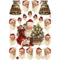 Glansbilleder, Julemænd og klokker, 16,5x23,5 cm, 3 ark/ 1 pk.