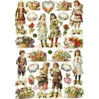 Glansbilleder, Børn og blomster, 16,5x23,5 cm, 3 ark/ 1 pk.