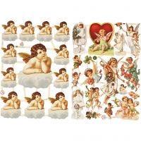 Glansbilleder, store og små engle, 16,5x23,5 cm, 2 ark/ 1 pk.
