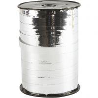 Gavebånd, B: 10 mm, blank, metal sølv, 250 m/ 1 rl.