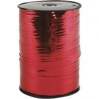 Gavebånd, B: 10 mm, blank, metal rød, 250 m/ 1 rl.