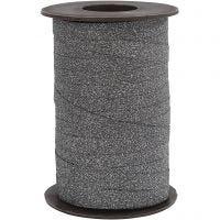 Gavebånd, B: 10 mm, glitter, sort, 100 m/ 1 rl.