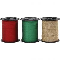 Gavebånd, B: 10 mm, glitter, guld, grøn, rød, 3x15 m/ 1 pk.