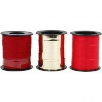 Gavebånd, B: 10 mm, guld, rød, rød glitter, 3x15 m/ 1 pk.