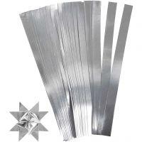 Stjernestrimler, L: 45 cm, diam. 4,5 cm, B: 10 mm, sølv, 100 strimler/ 1 pk.