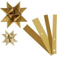 Stjernestrimler, L: 44+78 cm, diam. 6,5+11,5 cm, B: 15+25 mm, glitter,lak, guld, 40 strimler/ 1 pk.