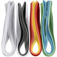 Quillingpapir, L: 78 cm, B: 5 mm, 120 g, ass. farver, 12x100 stk./ 1 pk.