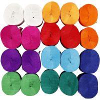 Crepepapir ruller, L: 20 m, B: 5 cm, 22 g, ass. farver, 20 rl./ 1 pk.
