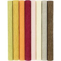 Crepepapir, 25x60 cm, Stræk/crepe: 180%, 105 g, douche farver, 8 ark/ 1 pk.