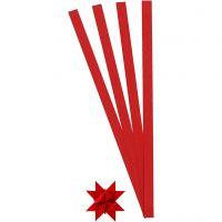 Stjernestrimler, L: 45 cm, B: 10 mm, diam. 4,5 cm, rød, 100 strimler/ 1 pk.