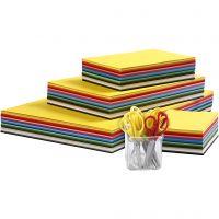 Creativ karton og børnesakse, A3,A4,A5,A6, 180 g, ass. farver, 1 sæt