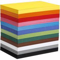 Kulørt karton, A4, 210x297 mm, 180 g, ass. farver, 1200 ass. ark/ 1 pk.