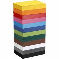 Kulørt karton, A6, 105x148 mm, 180 g, ass. farver, 12x100 ark/ 1 pk.