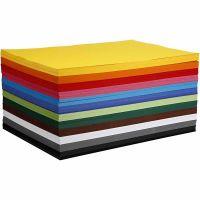 Kulørt karton, A2, 420x600 mm, 180 g, ass. farver, 120 ass. ark/ 1 pk.