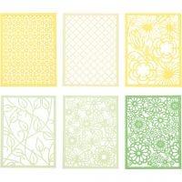 Blondekarton i blok, A6, 104x146 mm, 200 g, grøn, lys grøn, gul, lys gul, 24 stk./ 1 pk.