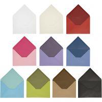 Kuvert, kuvert str. 11,5x16 cm, Indhold kan variere, 100 g, ass. farver, 30 pk./ 1 pk.
