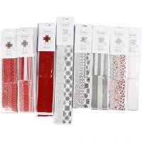 Stjernestrimler, L: 45+86+100 cm, diam. 6,5+11,5+18 cm, B: 15+25+40 mm, sort, rød, sølv, hvid, 18 pk./ 1 pk.