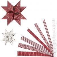 Stjernestrimler, L: 44+78 cm, diam. 6,5+11,5 cm, B: 15+25 mm, rød, hvid, 60 strimler/ 1 pk.