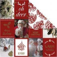 Designpapir, julemotiver og kogler, 180 g, guld, rød, 3 ark/ 1 pk.
