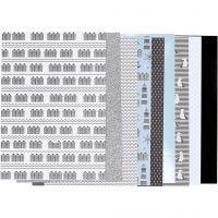 Designpapir i blok, str. 21x30 cm, 120+128 g, sort, blå, grå, hvid, 24 ark/ 1 pk.