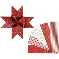 Stjernestrimler, L: 100 cm, diam. 18 cm, B: 40 mm, rød, hvid, 40 strimler/ 1 pk.