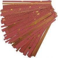 Stjernestrimler, L: 44+78 cm, diam. 6,5+11,5 cm, B: 15+25 mm, guld, rød, 48 strimler/ 1 pk.