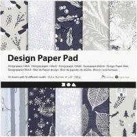 Designpapir i blok, 15,2x15,2 cm, 120 g, blå, grå, 50 ark/ 1 pk.
