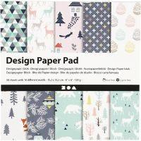 Designpapir i blok, 15,2x15,2 cm, 120 g, lys grøn, rosa, hvid, 50 ark/ 1 pk.