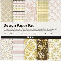 Designpapir i blok, 15,2x15,2 cm, 120 g, grøn, rosa, 50 ark/ 1 pk.