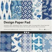 Designpapir i blok, 15,2x15,2 cm, 120 g, blå, 50 ark/ 1 pk.