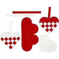 Flettede julehjerter, str. 13,5x12,5 cm, rød, hvid, 8 sæt/ 1 pk.